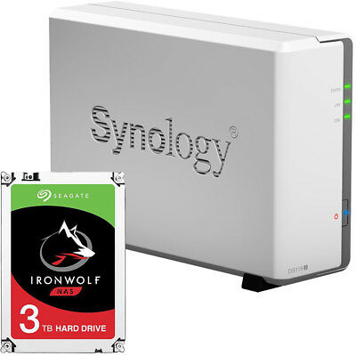 Synology DS119j 1-BAY DiskStation Assembled with a 3TB Seagate Ironwolf Drive