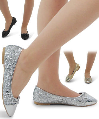 New Womens Girls Glitter Ladies Sparkly Slip On Bridesmaid Dolly Shoes Pumps 3-8
