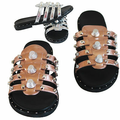 Womens Studded Flat Slider Ladies Summer Holiday Slip On Sandals Girls Shoes 3-8
