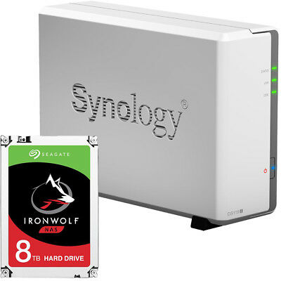 Synology DS119j 1-BAY DiskStation Assembled with a 8TB Seagate Ironwolf Drive