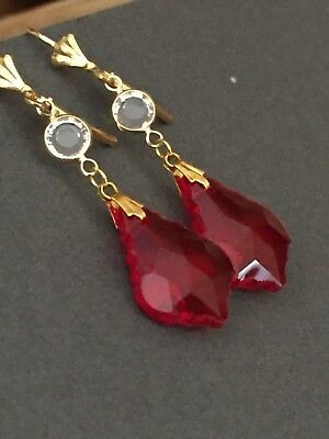 Art Deco vintage style long red and clear crystal glass earrings