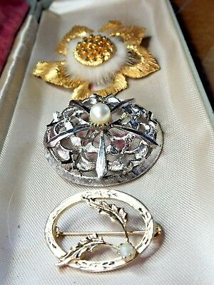 Small Job Lot 3 x Signed Vintage Brooches Sarah Coventry Numbered Sphinx Fur etc