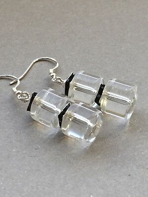 Art Deco style vintage clear glass and black 925 sterling silver earrings