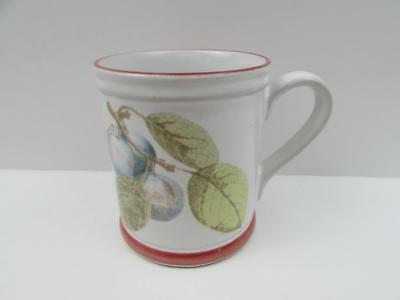 Denby Plums On Branch Green Leaves Rust Band and Edge Mug b196