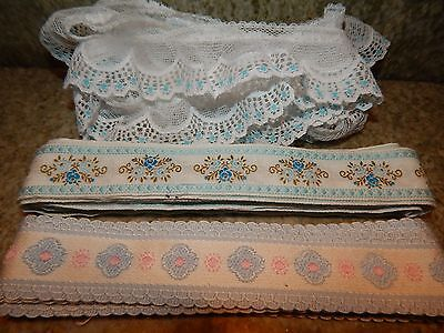 VINTAGE FLAT TRIM 11.5 yards YARDAGE Blue Floral