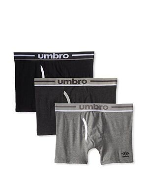 "Umbro Mens 3-Pack Boxer Briefs - Energizing Cotton 6"" Inseam  - White/Grey"