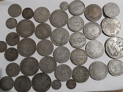 £6/9/2 pre 1920 SILVER CROWN to Threepences 1819-1919,381g of .925 ,