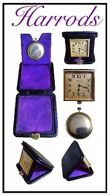 Art Deco Gold Plated 15 Jewel Swiss Travel Clock in Leather Case by Harrods