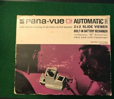 "Pana-Vue Tan Automatic R Lighted 2"" x 2"" Stack Slide Viewer by GAF in Box GUC"