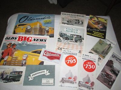 Lot of 15 Vintage Oldsmobile Sales Catalogs & Brochures 1920's through 1940's