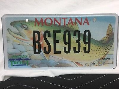 """Montana License Plate """"trout Unlimited Of Montana"""" Bs3939"""