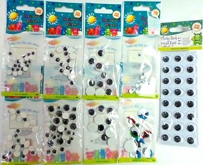 Docrafts Craft Planet Wiggle Googly Eyes Round Oval Adhesive & Non Adhesive