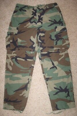 Army Camo Pants Original Bdu Hot Woodland; 8415-01-390-8948; Size Medium Regular