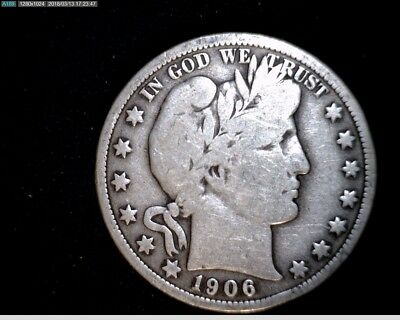 1906 P  Silver Barber Half Dollar  Circulated #1X536