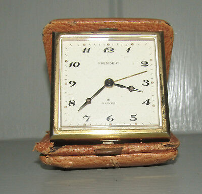 President 15 Jewels Swiss Made Travelling Clock Vintage Early 80's Refurb Needed