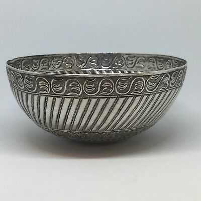 Beautiful Antique Eastern Persian Islamic Solid Silver  Bowl - 13cm wide by 169g