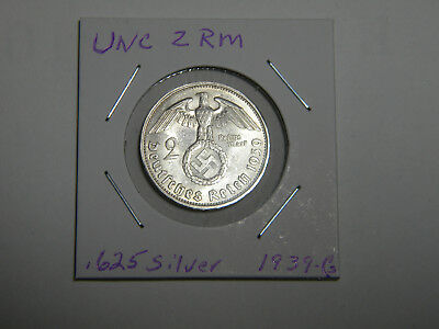 WW2 German 2 Mark Silver Coin 3RD Reich With Large Swastika Uncirculated 1939 G