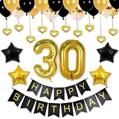Balloons 30th Birthday Decorations Party Supplies - Backdrop, Happy Banner,
