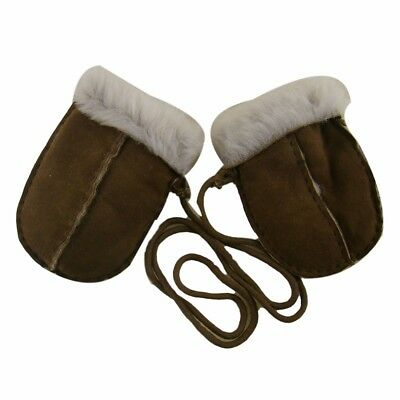 Children's 100% Sheepskin Lined Puddy Mittens with keep safe cord ~ 0-2yrs (Choc