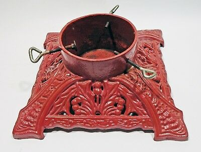 """Vintage Red Ornate Cast Iron Christmas Tree Stand Heavy 15""""X 15'' Base"""