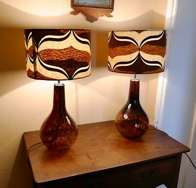 Pair of  Large Mid Century Modern Splatter Glass Lamps with Retro Lamp Shades