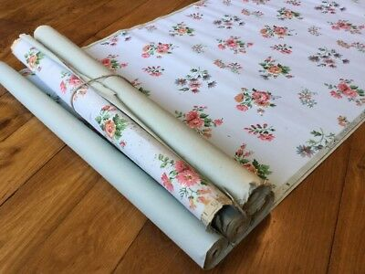 4 Rolls Wallpaper Art Deco  Isidore Leroy 1930 Papier peint ancien Flowers 6/8 M