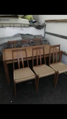 VINTAGE RETRO 1970's DANISH TEAK TABLE AND 6 PAPERCORD SEAT CHAIRS