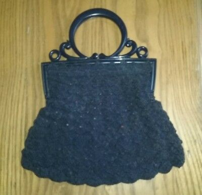 1930s VINTAGE LADIES BLACK CORDE PURSE WITH BLUE PLASTIC LUCITE HANDLES