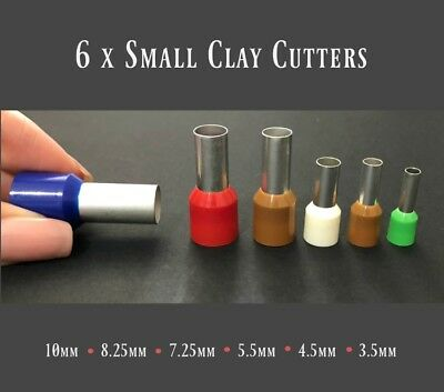Set 6 Small Polymer Clay Cutters • Round Dotting Tools • Metal Circle Cutters