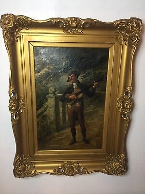 Rare 19th Century Oil Painting Guitar Player G. Brightwell in Antique Gilt Frame