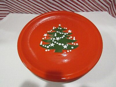 Waechterbach RED CHRISTMAS TREE ~ set of 5 ~ 10 inch Dinner Plates ~ Used Once