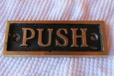 Vintage Brass Cast Iron  Door Push  Sign Plate