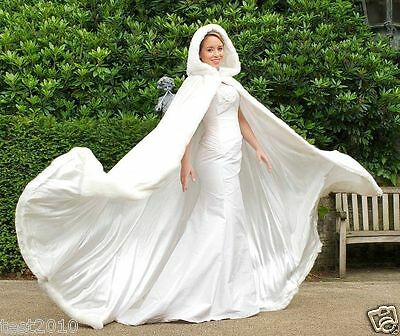 2018 Long Faux Fur White Bridal Hooded Cloak Cape Winter Wedding Dress Wraps