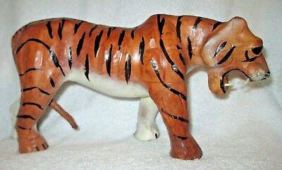 "Tiger Figurine 12"" Long by 6"" Tall with whiskers and glass eyes"