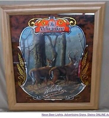 NOS Old Milwaukee Beer Mirror Wildlife Series 2 DEER USA Sign Bar Man Cave HTF