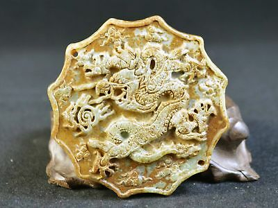 Unique Old Jadeite Carving Dragon Statue Pendant Japanese Collection Double Face