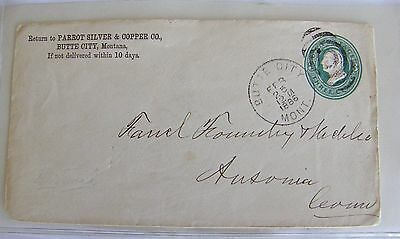 1886 Butte City Montana Parrot Silver & Copper Mine Co Envelope To Ansonia Conn
