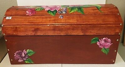 Mexican Folk Art Trunk Olinala Chest Wood Dowry Baul Box Furniture Large 19.5""