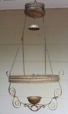 Antique Victorian Hanging Brass Bronze Parlor Kerosene GWTW Oil Lamp Frame Parts