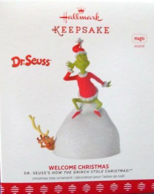* 2017 *  GRINCH WELCOME CHRISTMAS  Hallmark Ornament DR SEUSS Magic SOLD OUT!!!