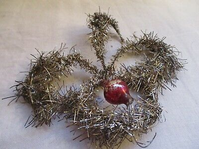 Antique Gold Tinsel Wrapped Victorian Wire Wrapped Christmas Ornament 8