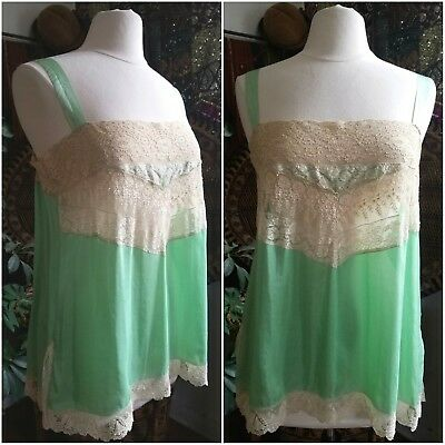 Seafoam Hand Made 1920s Silk Chemise Net Insertion Lace Flowers Antique Lace