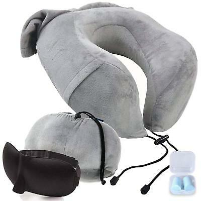 Travel Airplane Neck Pillow w/ Phone Pocket, Washable Cover, Ear Plugs, Eye Mask