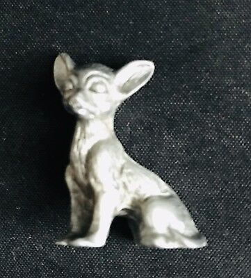 Pewter Chihuahua Dog Puppy Taco Bell Silver Metal Figurine