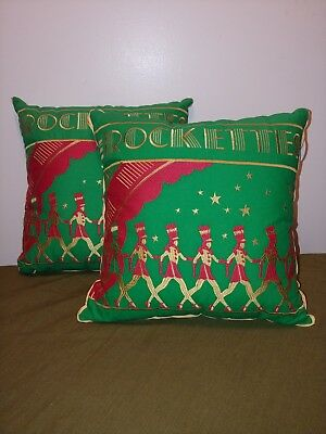 Radio City Archive Collection 2010 Rockettes Pillows Green Red 100% Cotton Throw