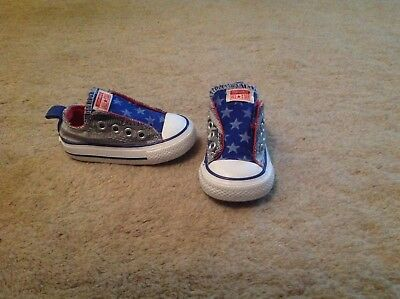 Converse toddler 3 19 Blue stars and stripes no time to lace velcro