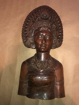 Vintage Carved Indonesian Bali Wood Bust Sculpture 14""