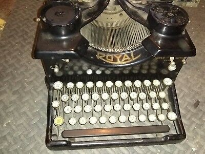 Used Royal Typewriter Model 10 - Dual Beveled Glass Panels & Keys - Black