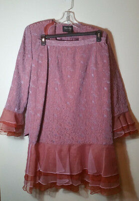 Natasia New York 3 Piece Skirt Suit Rose Color Size 10