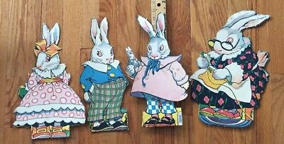 "4 Vintage  40`s-50`s DENNISON ? EASTER BUNNY  Rabbit Decoration 14"" Tall"
